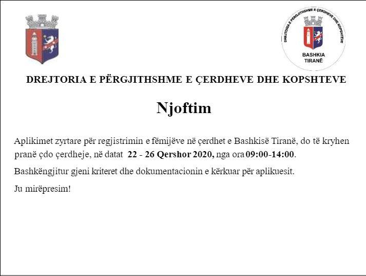Nis regjistrimi në çerdhet e Tiranës për sezonin 2020-2021, publikohen datat dhe dokumentet e aplikimit